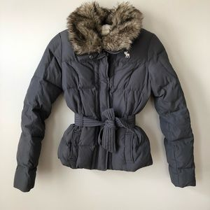 Abercrombie Belted Winter Puffer Coat Youth M